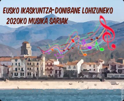 2020ko Eusko ikaskuntza-Donibane Lohizuneko Musika sariak Utzailaren 3an 12:00tan