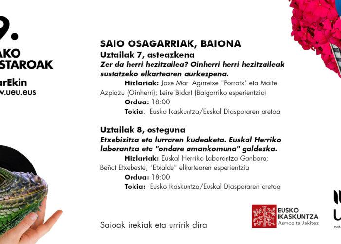 Conférences complémentaires d'UEU à Eusko Ikaskuntza Iparralde  le 7 et le 8 juillet à 18:00